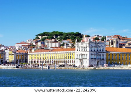 Landscape of Lisbon, square of commerce - stock photo