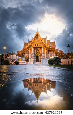 Landscape of Marble Temple, Bangkok, Thailand, South East Asia. The Marble Temple is named Wat Benchamabophit or Wat Ben in Thai. Marble Temple is one of the landmarks or attractions in Bangkok - stock photo
