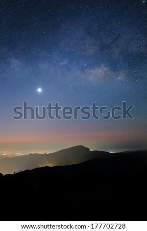 Landscape of Milky Way beautiful sky on Doi Inthanon mountain, Chiang Mai, Thailand. - stock photo
