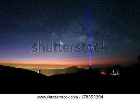 Landscape of Milky Way beautiful sky on Doi Inthanon mountain, Chiang Mai, Thailand. - stock photo