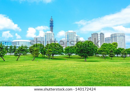 Landscape of modern city viewed from Rinko-Park in Yokohama City, Japan. - stock photo