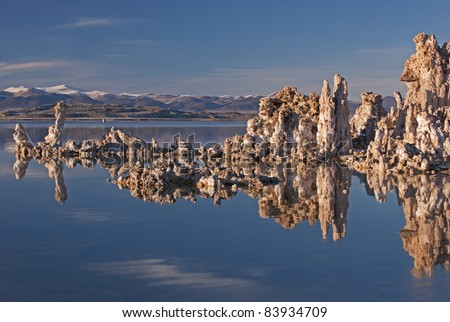 Landscape of Mono Lake with tufa formations and Eastern Sierra Nevada Mountains, California, USA