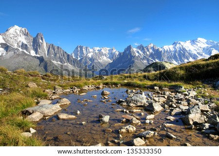 Landscape of Mont Blanc Massif (Mont Blanc is the left most peak) from a balcony in Aiguilles Rouges above Chamonix, France. - stock photo