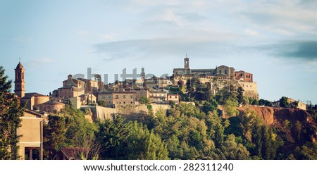 Landscape of Montepulciano, a small town in Tuscany, Italy. - stock photo