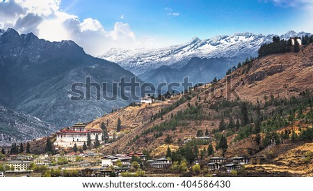landscape of mountain and valley country,Thimphu city in Bhutan - stock photo