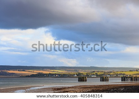 Landscape of mountain at Cromarty Firth in Invergordon, Scotland - stock photo