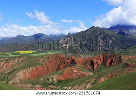 landscape of mountain in summer,Chinese