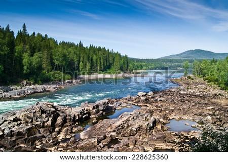 landscape of mountain river in Siberia - stock photo