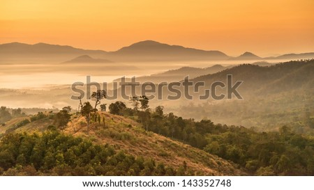 Landscape of Mountain views and Sunrise at Yun Lai Viewpoint,Pai Chiangmai Thailand - stock photo