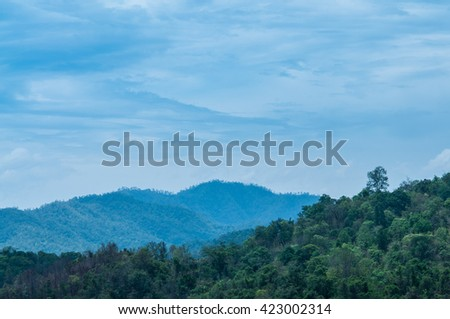 Landscape of mountains and clouds in summer.