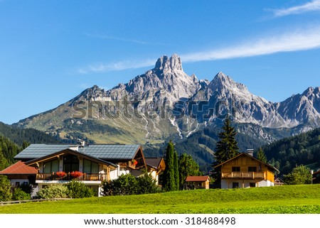 Landscape of mountains, green field, sky, forest in Filzmoos, Salzburg, Austria - stock photo