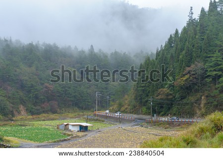 landscape of mountains in taiwan - stock photo
