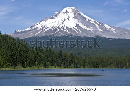 Landscape of Mt. Hood and Trillium lake Oregon. - stock photo