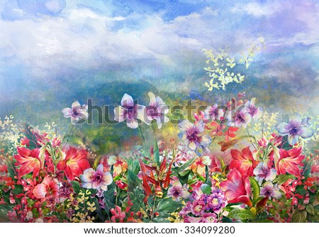 landscape   of multicolored flowers watercolor painting style.digital painting - stock photo