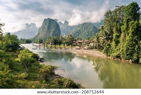 Landscape of Nam Song River at Vang Vieng, Laos - stock photo