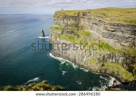 Landscape of natural touristic attraction Cliffs of Moher in County Clare, Ireland - stock photo