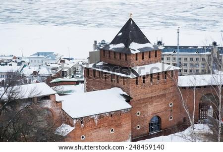 Landscape of Nizhny Novgorod kremlin - stock photo