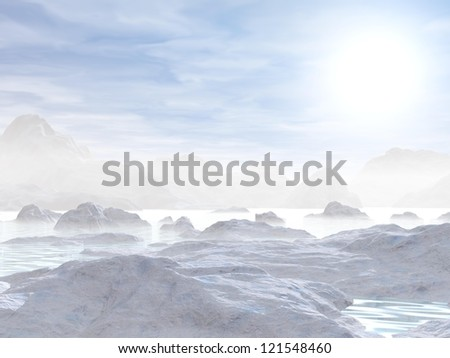Landscape of northen nature with white icebergs melting in water by hazy day - stock photo