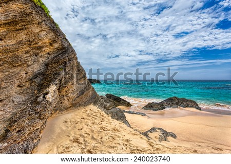 Landscape of Ocean, rock and beach in Horseshoe Bay, Southampton Parish, Bermuda