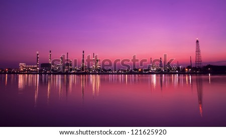 Landscape of oil refinery at twilight