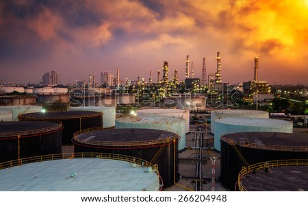 Landscape of oil refinery industry with oil storage tank - stock photo