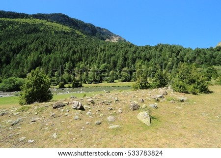 Landscape of Ordesa National Park, valley of Bujiruelo , Pyrenees, Spain.