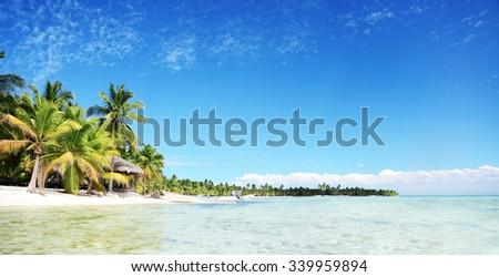 Landscape of paradise tropical island beach with perfect sunny, Saona island, Dominican Republic  - stock photo