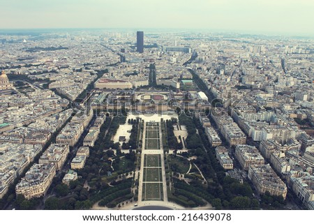 landscape of Paris from heights - stock photo
