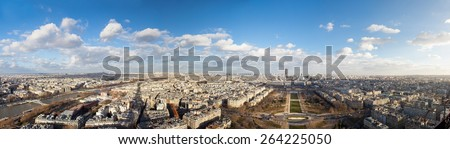 landscape of Paris. From the height of the Eiffel Tower - stock photo