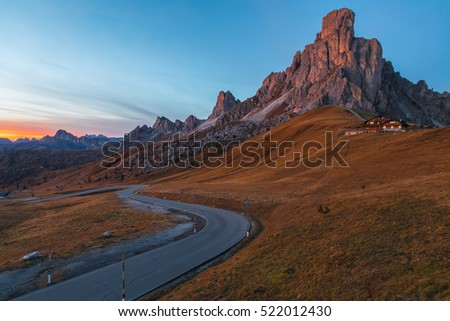 Landscape of Passo di Giau in the Dolomites at Sunset, Italy