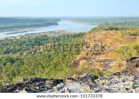landscape of Pha Taem National Park, Ubon Ratchathani province , Thailand. - stock photo