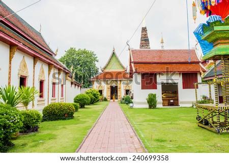Landscape of Phrathat Hariphunchai Temple, Thailand - stock photo