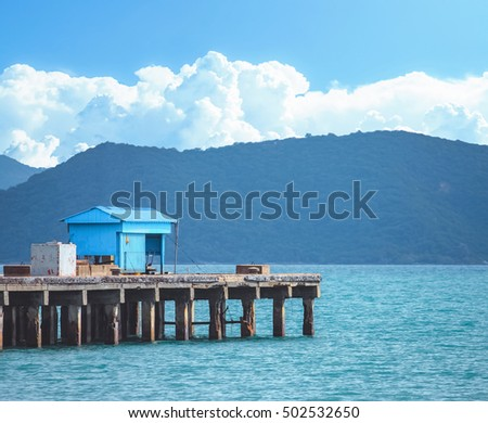landscape of pier with mountain view background