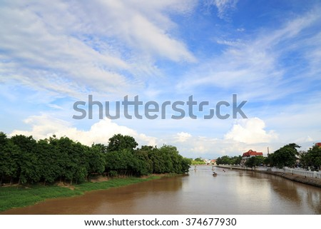 Landscape of Ping river with blue sky, Chiang Mai, Thailand. - stock photo