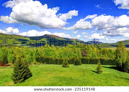 Landscape of Poloniny range in Bieszczady Mountains, Poland. Photo made using HDR technique - stock photo