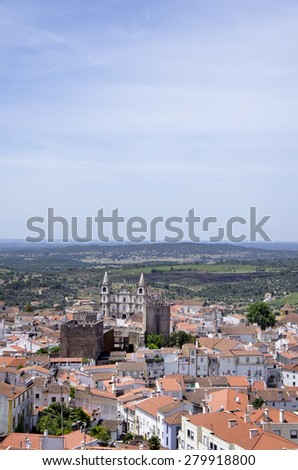 landscape of Portalegre city, south of Portugal - stock photo