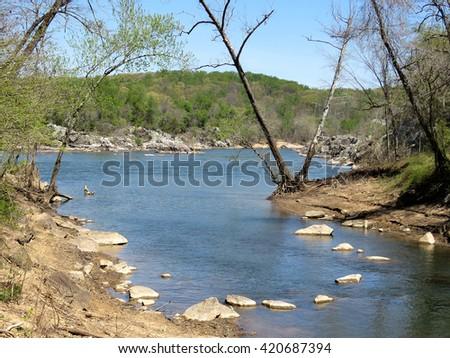 Landscape of Potomac River near Washington DC, 18 April 2016 USA                                 - stock photo
