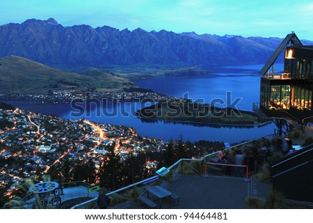 landscape of Queenstown City New Zealand at Night - stock photo