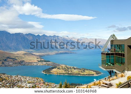 Landscape of queenstown with lake Wakatipu from top, new zealand, south island - stock photo