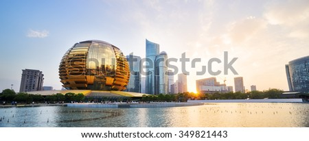 landscape of reflection of modern buildings in sunny day.waterfront