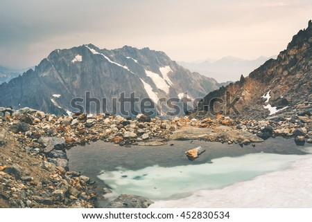 Landscape of remote mountain range and glacier in America.The landscape was taken during sunrise on one of the campsites called Sahale Glacier Campsite in North Cascade National Park,Washington State. - stock photo