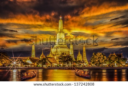 Landscape of River and Arun Temple in Bangkok city in fesival night time - stock photo
