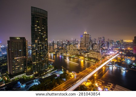 Landscape of River in Bangkok city  at night, bird view - stock photo