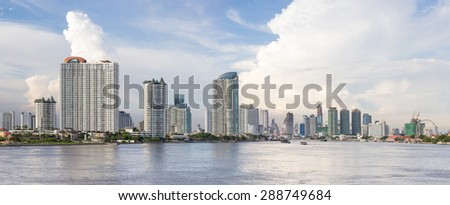 Landscape of River in Bangkok city, thailand - stock photo