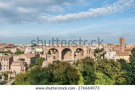 landscape of roman forum in roma italy