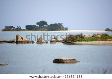 landscape of San Teodoro Pond (Sardinia - Italy) - stock photo
