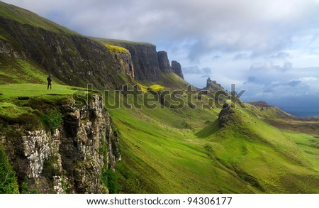 Landscape of Scotland with man - stock photo