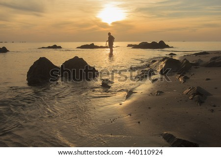 Landscape of sea beach and cloudy sky in morning ; southern of Thailand