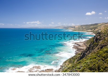 Landscape of seashore with beautiful hills near Portand, New South Wales, Australia