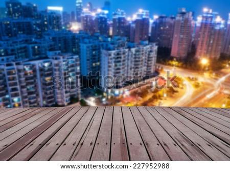 landscape of shanghai china at night.  - stock photo